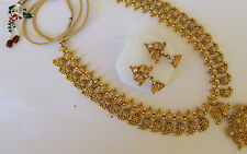 Fashion temple jewelry gold beautiful long necklace set and earring 124