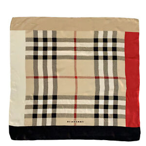 BURBERRY CHECK BEIGE HAND ROLLED LARGE silk Scarf  35/36 in #A93 POOR CD