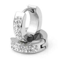 """Stainless Steel Crystal Rhinestone Hoop Earrings 0.55x0.16"""" HY"""