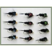 Montana Trout Flies, 12 Pack Goldhead, Blue, Green & Red Size 10/12, Fly Fishing