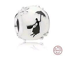 Mary Poppins pulsera con dijes del grano real plata esterlina 925 silueta Espaciador
