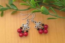 Red CORAL Gemstone + Black On Chinese Lucky Knot Dangle Earrings ~ Feng Shui
