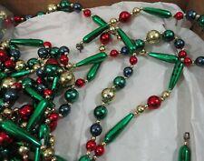Beautiful Antique Glass Xmas Tree Garland Various size Beads 80 feet Beautiful