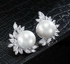 GIFT BOXED Pearl CZ Cluster Silver White Gold Plated Stud CRYSTAL EARRINGS UK