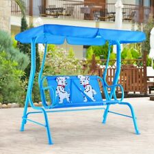 Kids Patio Swing Bench with Canopy Outdoor Patio Porch 2 Seats
