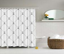 Black & White Anchor Shower Curtain Sailor Diamond Patterns Nautical Decor