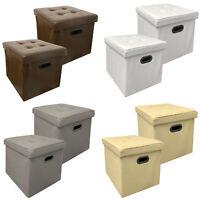 2x Stauraum Sitzhocker Kunstleder Faltbar Sitzwürfel Aufbewahrungsbox Hocker