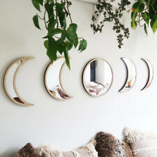 Nordic Wooden Decorative Mirror Decor Acrylic Moon Phase Mirror Wall Decoration
