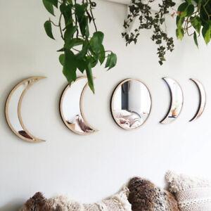 Nordic Wooden Decorative Mirror Decor Acrylic Moon Phase Mirror Wall Decoration