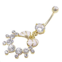 Gold plated over surgical steel belly bar with CZ gems 14g 1.6mm x 10mm