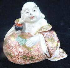 ANTIQUE JAPANESE MEIJI SATSUMA SEATED BUDDHA FIGURE HOTEI