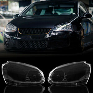 1 Pair Front Headlight Lens Cover Plastic For VW MK5 R32 Rabbit Jetta 06-09