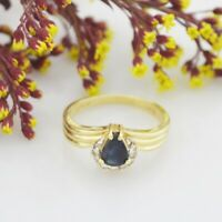 14k Yellow Gold Estate Sapphire & Diamond Ring Size 6.75