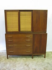 Striking Ed Wormley for Dunbar Figured Walnut Buffet & Hanging Cabinet Near Mint