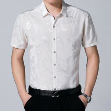 Men Faux Silk Satin T-shirt Short Sleeve Business Shirts Floral Blouse Thin Tops