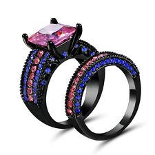 Pink Topaz Wedding Ring Set Pave CZ Band Womens Black Rhodium Plated Size 8 Gift
