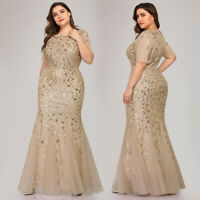 Ever-Pretty Plus Gold Fishtail Bodycon Cocktail Gown Sequins Evening Dress 07707