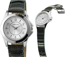 Damen Armbanduhr Silber Grau/Grün/Schwarz Kunstlederarmband von Excellanc