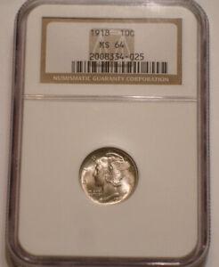 1918 P Mercury Dime NGC MS 64 very Choice BU original surfaces