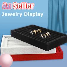 Display Show Case Box Organizer Holder Storage Velvet Tray Earring Ring Jewelry