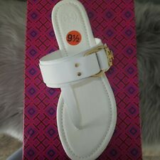 Tory Burch Size 10 Marsden Ivory Thong Logo Sandals Shoes