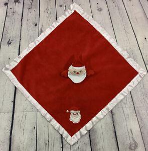 Blankets & Beyond Red Christmas Santa Nunu Security Lovey Blanket Satin Edge