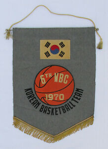OLD ORIGINAL BASKETBALL 1970 FIBA WORLD CHAMPIONSHIP SOUTH KOREA PENNANT!!!