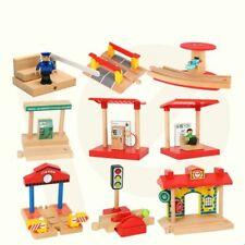 Wood Railway Gas Station Police Train Slot Railway Kids Gift Fit Thomas Biro