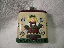 Angel Happy Holidays Cookie Canister Jar BICO CHINA, EXCELLENT CONDITION
