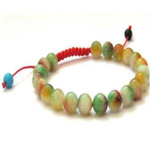 8mm flower jade beads handmade braided rope adjustable bracelet Lucky Reiki Pray