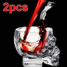 2pcs 73ML Fancy Art Skull Head Red Wine Cup Glass Transparent Party Tableware KJ