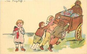 Artist Children pushing cart up hill Comic humor 1920s Postcard 21-1060