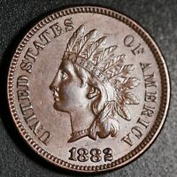 1882 INDIAN HEAD CENT - With LIBERTY & Near 4 DIAMONDS - AU UNC