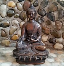 Tibet antique excellent old bronze carved statue Buddha dragon