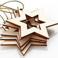 5Stk Weihnachten Holz Deko-Anhänger Anhänger Schmuck Sterne Christbaumschmuck