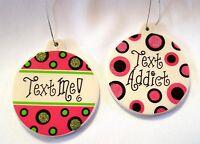 """Funny Christmas Ornaments Text Addict Phone Humor Set of 2 Pink Polka Dot 3.5"""""""