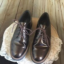ROCKPORT WOMENS SZ 8 M OXFORDS  #CG8374 BROWN  PATENT LEATHER SHOES