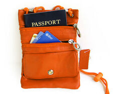 Orange Passport Leather ID Holder Neck Sling Pouch Travel Wallet String Purse