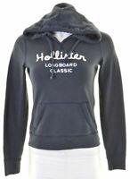 HOLLISTER Womens Hoodie Jumper Size 10 Small Navy Blue Cotton  HI02