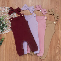 Baby Kids Bodysuit+ Romper Xmas Jumpsuit With Headband Party Plain Outfits