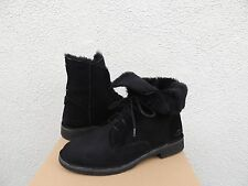 UGG QUINCY BLACK SUEDE/ SHEEPSKIN WINTER ANKLE BOOTS, US 7/ EUR 38 ~NIB