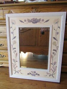HUDSON RIVER INLAY MIRROR - WHITE ROSETTE - WOOD MARQUETRY by NELSON 25X32