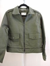 NWT $365 rag & bone Jean Cotton W/Leather Trim Green Army Pump Zippered Jacket-L