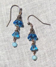 BRASS FILIGREE AQUA BLUE BELL FLOWER OPAL GLASS EARRINGS VICTORIAN FAIRY BOHO