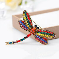 EG_ WOMEN VINTAGE MULTICOLOR RHINESTONE DRAGONFLY INSECT SCARF BROOCH PIN LIVELY