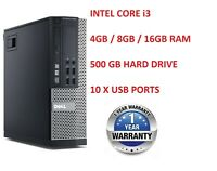 DELL / HP COMPUTER INTEL i3 DESKTOP TOWER WINDOWS 10 WIFI 16GB RAM 500GB HDD