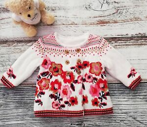 Baby Girls Tu Cream Double Breasted Floral Knitted Fleece Jacket. Age 3-6 Months