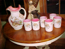 L G WRIGHT SATIN MOTHER OF PEARL WATER PITCHER & SET OF 6 TUMBLERS W CHERUBS