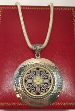 "Sterling Silver Filigree Scroll Disk Pendant Artisan Wheat 925 Bali 18"" Necklace"