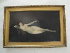 """Très belle HST """" La femme au divan noir"""" signée Camille OMEYER d'après JJ.HENNER"""